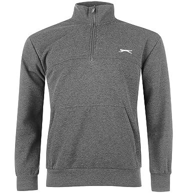 Slazenger Herren Fleece Sweatshirt Langarm 1//4 Reißverschluss Pullover Freizeit