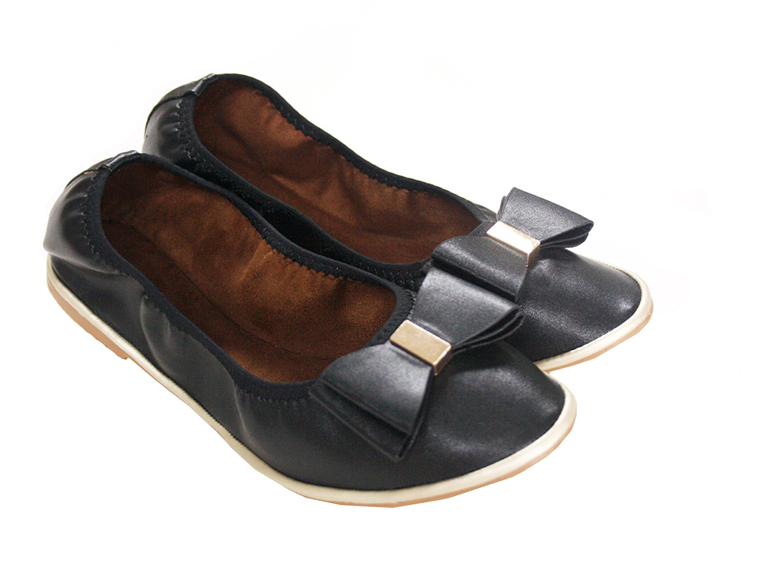 Solemates Midtowns Scrunch Foldable Ballet Flats with Carrying Pouch (6, Black)