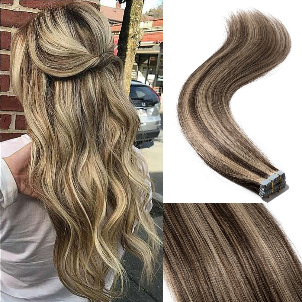 18'' 40pcs 100g Remy Tape in Hair Extensions Human Hair 4P27 Balayage Straight Hair Seamless Skin Weft Invisible Double Sided Tape Two Tone Medium Brown Mix Dark Blonde by Hairro