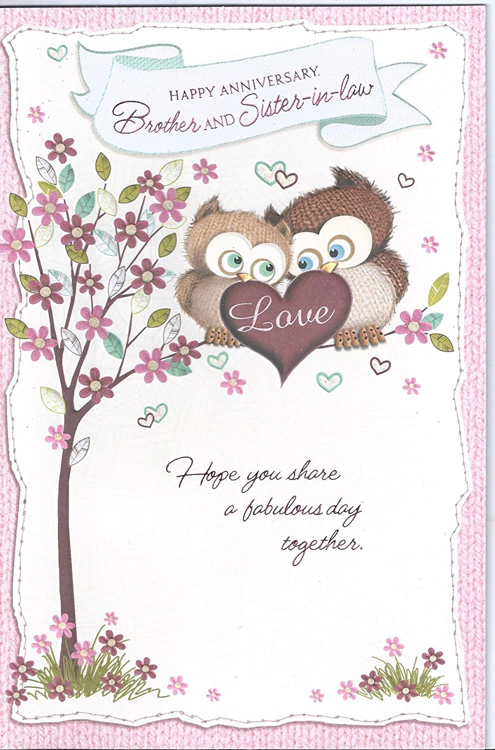 Happy anniversary brother sister in law wedding wishes greetings happy anniversary brother sister in law wedding wishes greetings card owls amazon office products m4hsunfo
