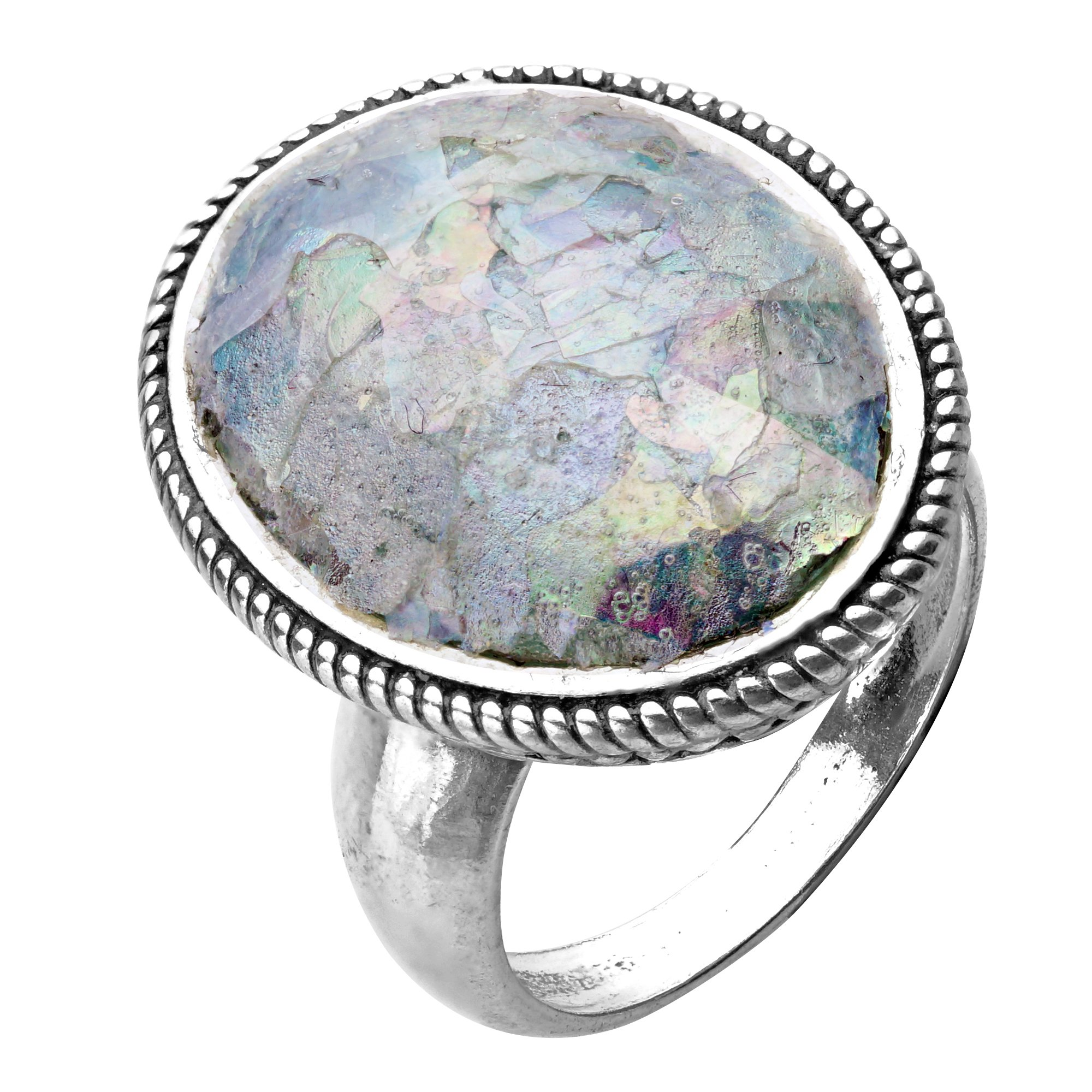 Paz Creations ♥925 Sterling Silver Bold Oval Roman Glass Ring (5), Made in Israel