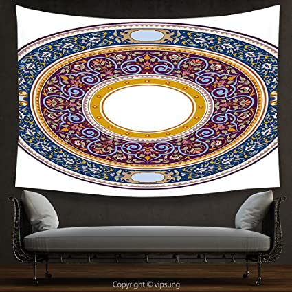 House Decor Tapestry Arabic Circular Antique Design Detailed Baruqoe  Moroccan Garnished Curved Vintage Floral Multicolor Wall