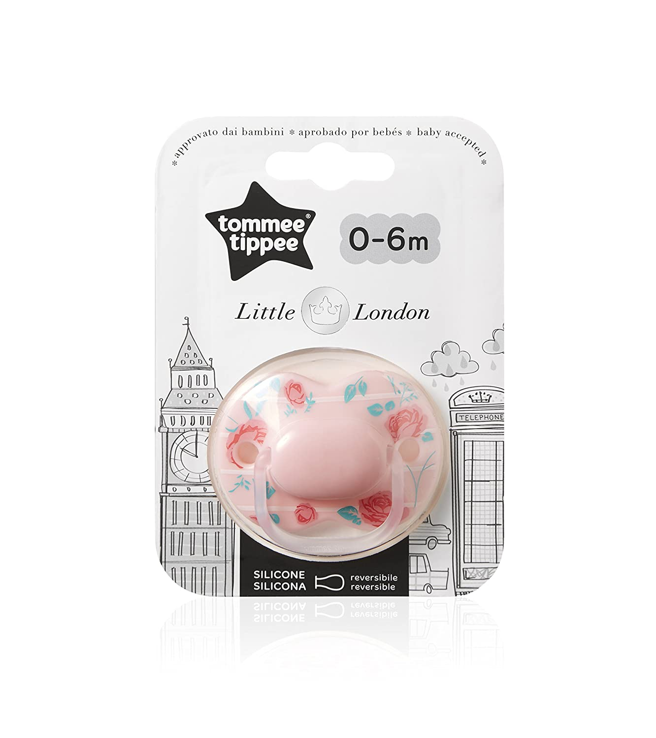 Tommee Tippee Closer to Nature - Chupete, diseño Little London, para 0-6 meses, color rosado