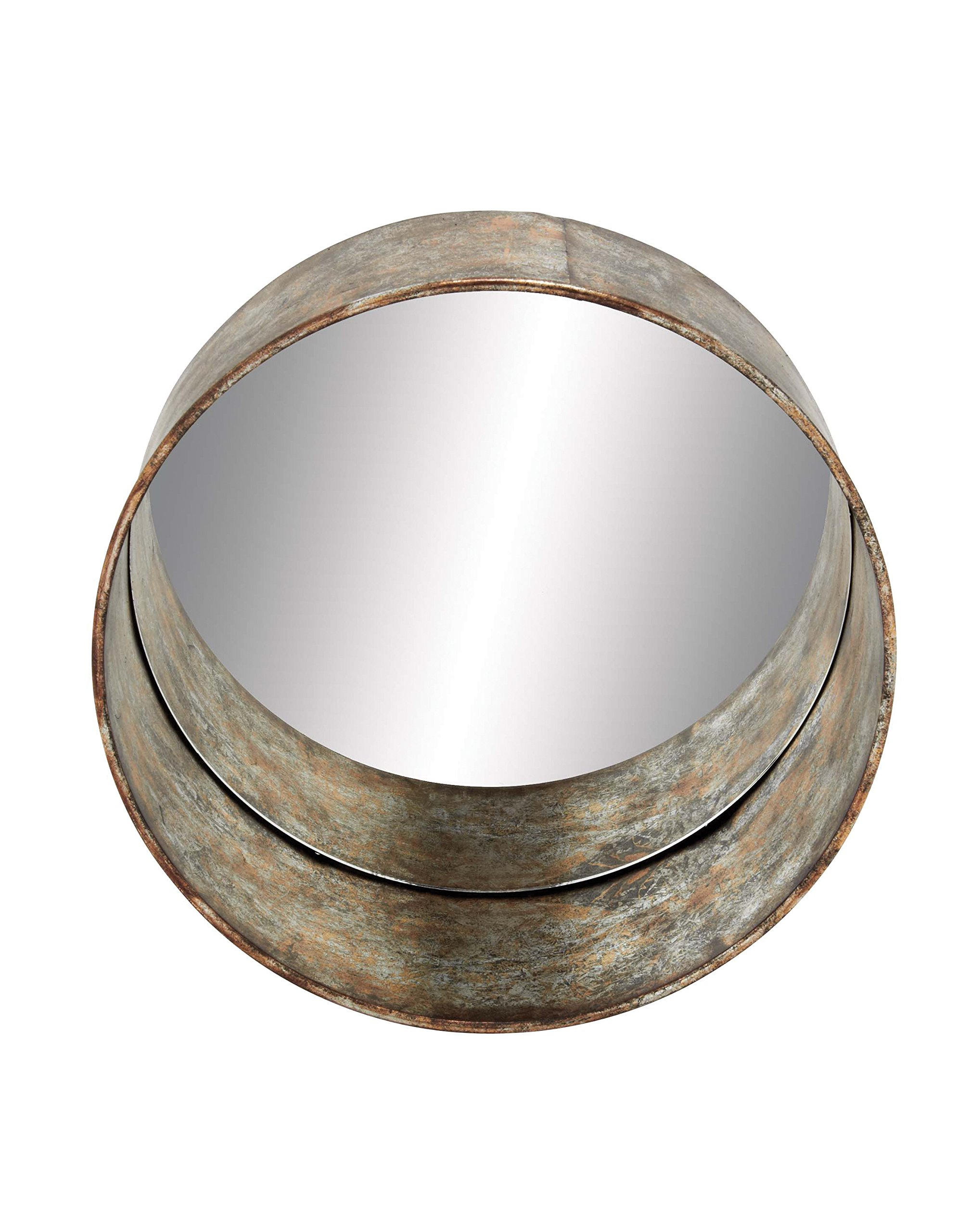 Deco 79 54448 Metal Wall Mirror - Item color: rust, silver Item finish: textured, distressed This product is Made in China - bathroom-mirrors, bathroom-accessories, bathroom - 815BMSMVohL -