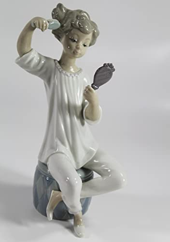 Lladro Girl with Brush Collectible Figurine 01001081 Retired Glazed Finish