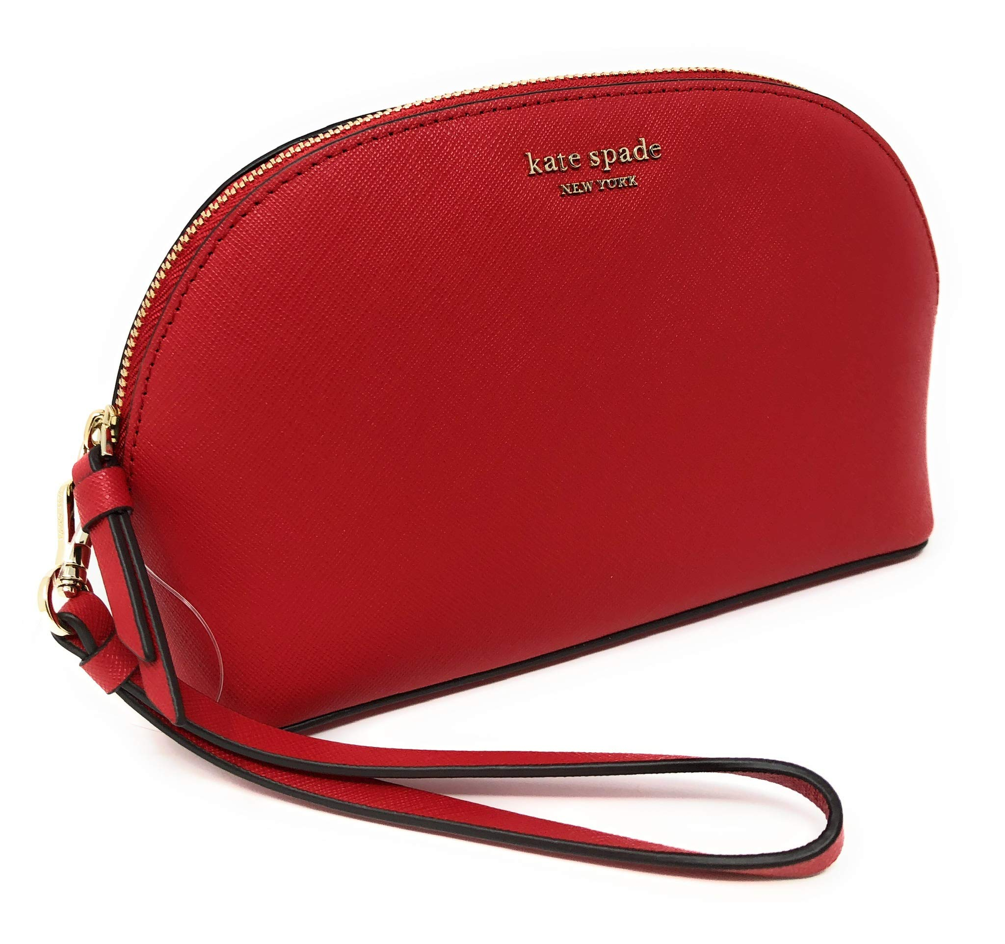 Kate Sapde New York Medium Dome Cosmetic Make-Up Leather Clutch Bag Wristlet Red by Kate Spade New York