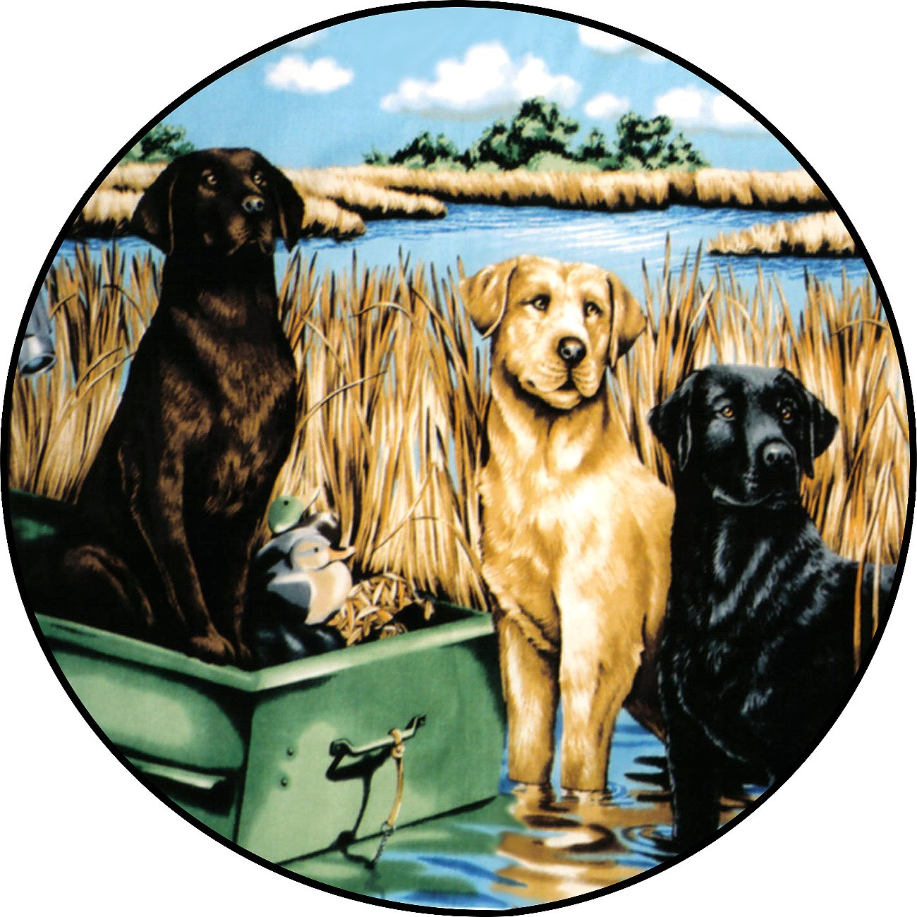 TIRE COVER CENTRAL Labrador Dogs Spare Tire Cover for 30X9.50X15 fits Camper, Jeep, RV, Scamp, Trailer(Drop Down Size menu