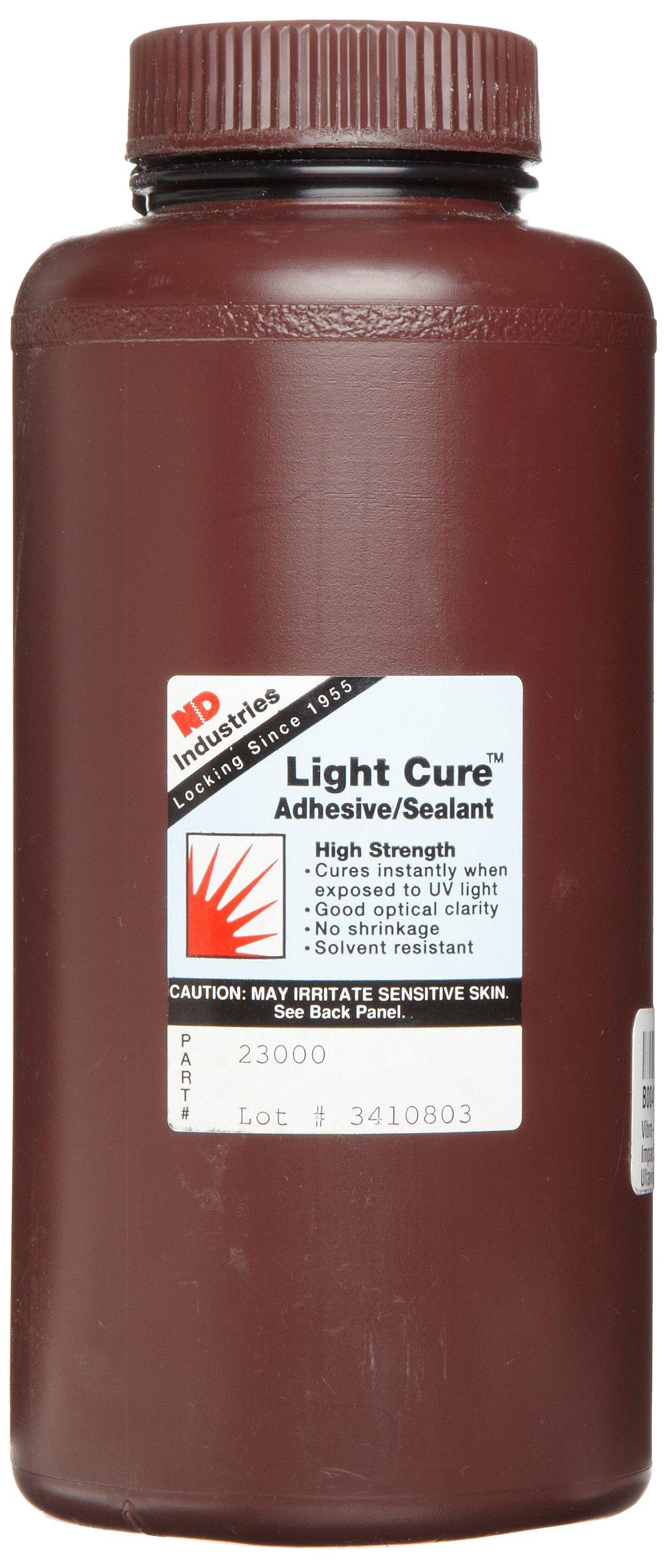 Vibra-TITE 230 Impact Resistant Ultaviolet/Heat/Activator Structural Light Cure Adhesive, 1 Liter Bottle, Clear/Amber