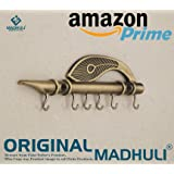 MADHULI® ORIGINAL Lord Krishna's Flute & Peacock Quills Key Stand Key Holder For Home & Office (Genuine)