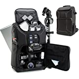 USA GEAR DSLR Camera Backpack Case - 15.6 inch Laptop Compartment, Padded Custom Dividers, Tripod Holder, Rain Cover, Long-La
