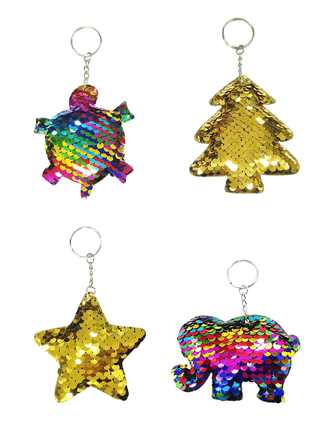 Neathouse 4 Pack Mermaid Sequin Keychain Sparkling Keychain, Keychain Decorations,Novelty Keychain for Kids Party Favors