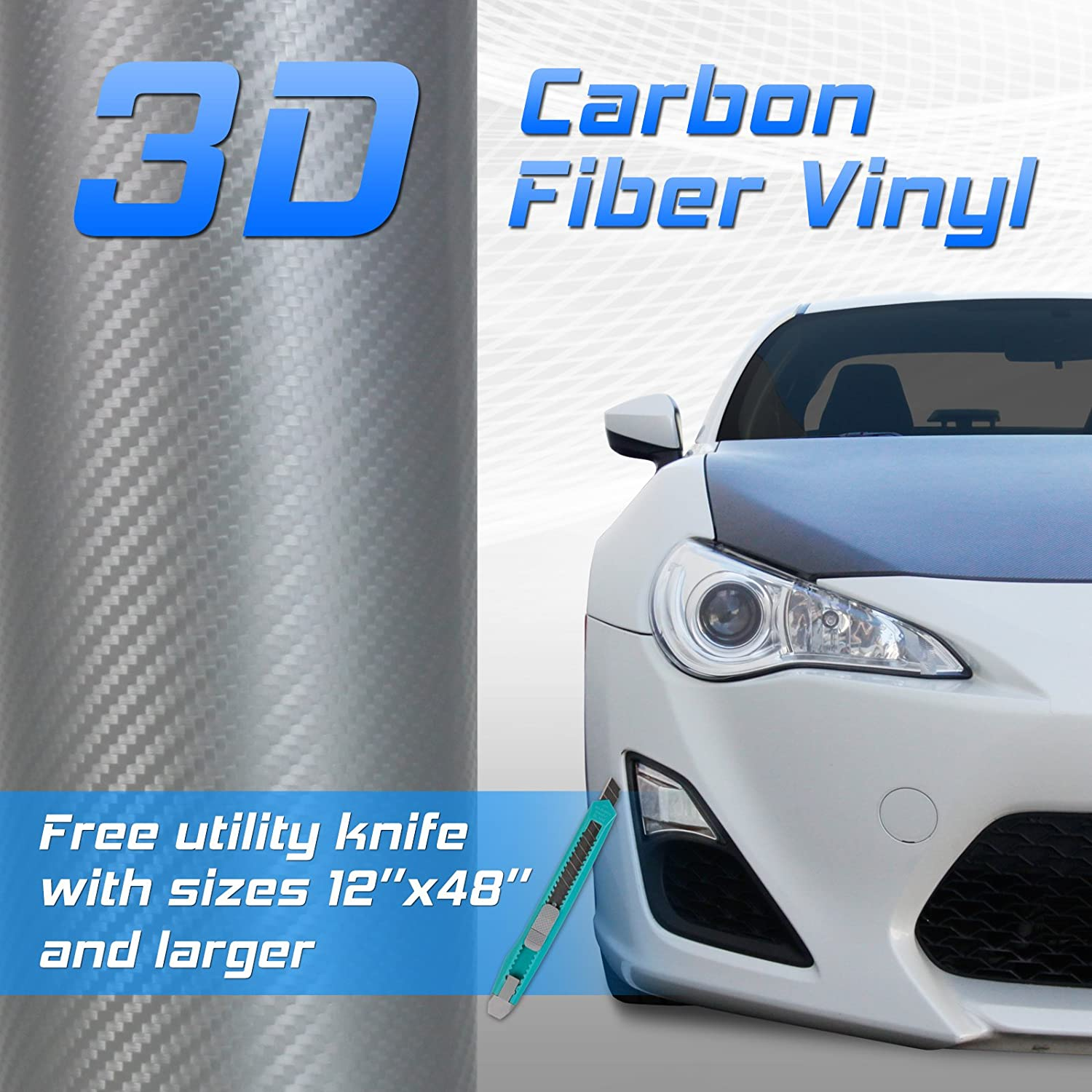 24 by 48 inches 3D Twill Weave White Silver Carbon Fiber Vinyl Sheet iJDMTOY Auto Accessories (2x4)-AA2035