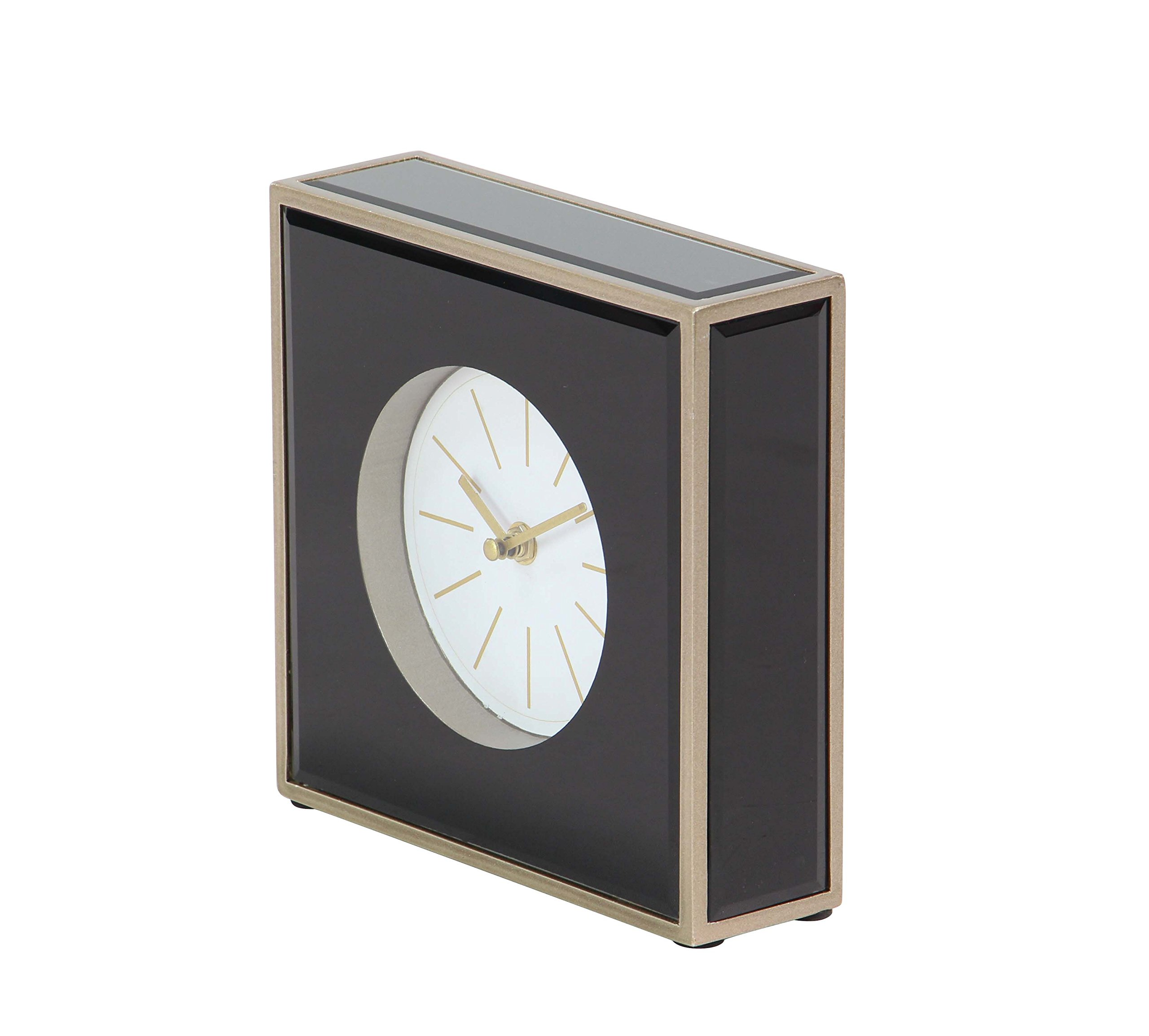 Deco 79 87388 Table Clock, Black/Brown/Gold/White - Suits perfectly in your room's side table Gold finish adds elegance to your space MDF wood provides durability to the frame - clocks, bedroom-decor, bedroom - 815BQO0ytaL -
