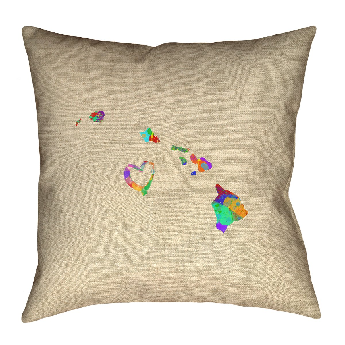 ArtVerse Katelyn Smith Hawaii Love Watercolor 26 x 26 Pillow-Faux Linen Updated Fabric Double Sided Print with Concealed Zipper /& Insert