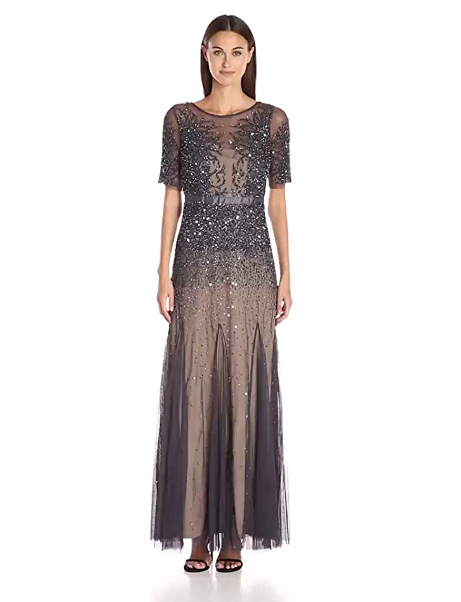 Adrianna Papell Women\'s Elbow Length Sleeve Fully Beaded Gown with ...