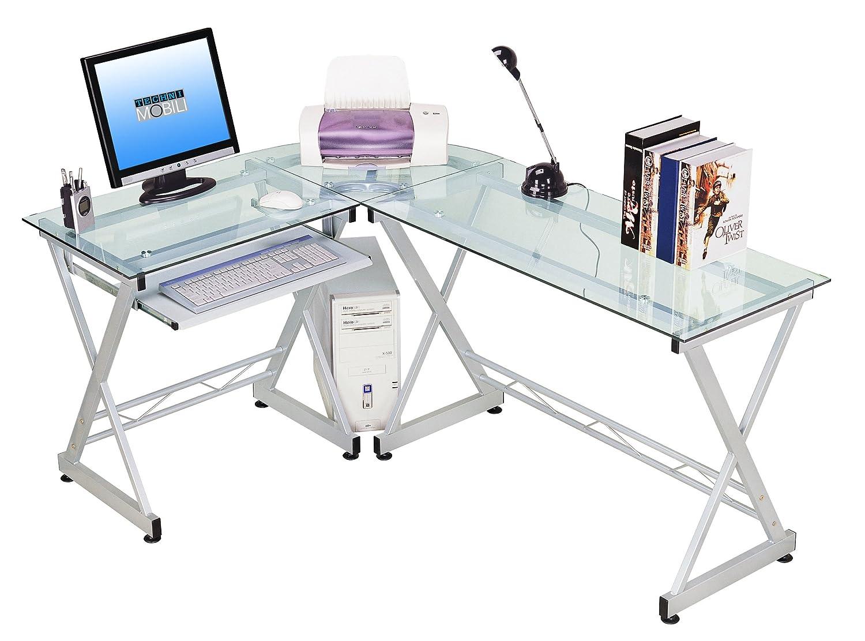 amazoncom tempered glass l shape corner desk with pull out  - amazoncom tempered glass l shape corner desk with pull out keybaordpanel color clear kitchen  dining