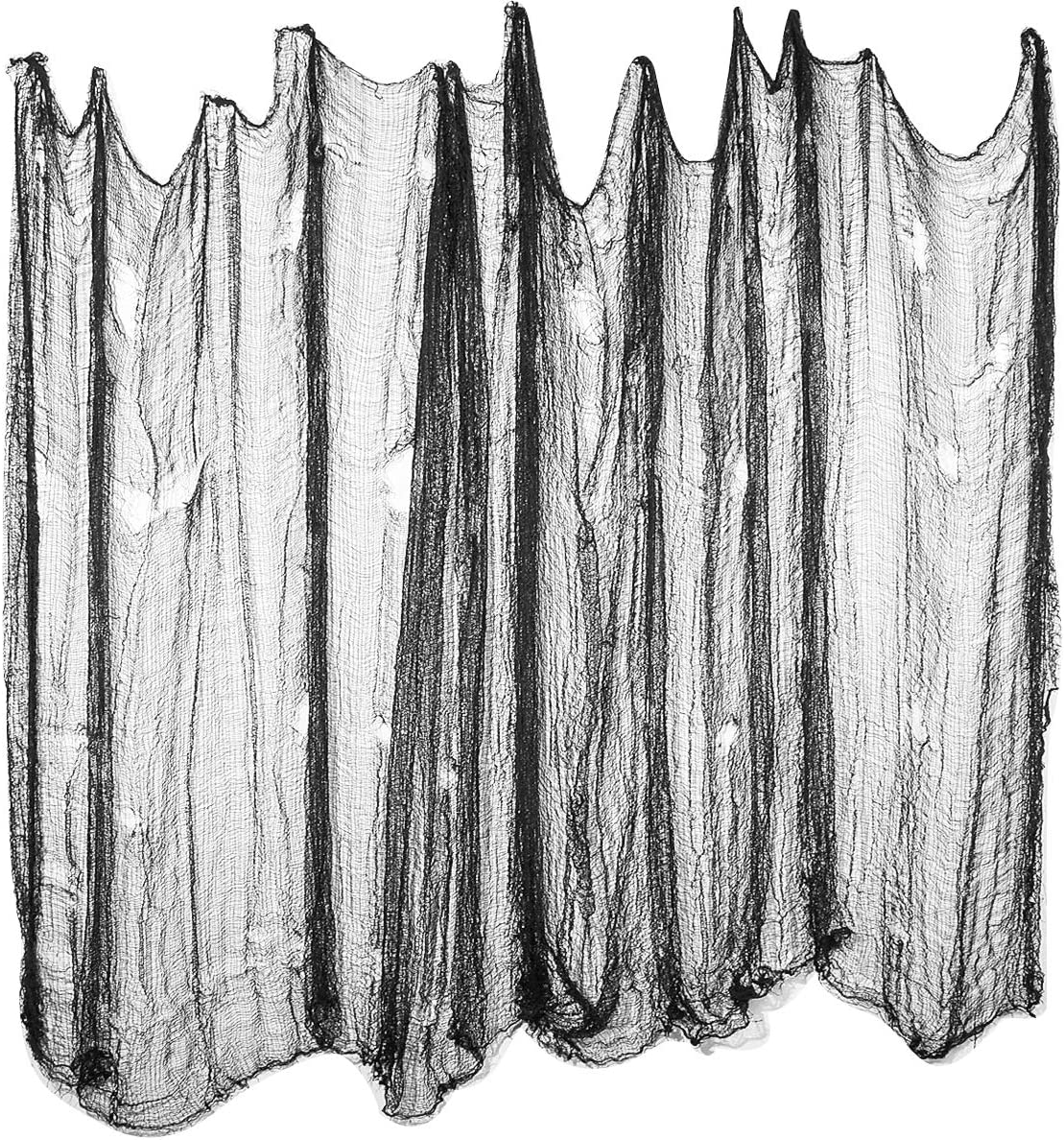 Halloween Creepy Cloth, 236 x 78.7 inch Black Spooky Gauze Cloth Halloween Decor, and Spider Web 2.4 Ounce with 4 Pcs Plastics Spiders for Halloween Haunted Houses Party Decorations Yard Wall Decor