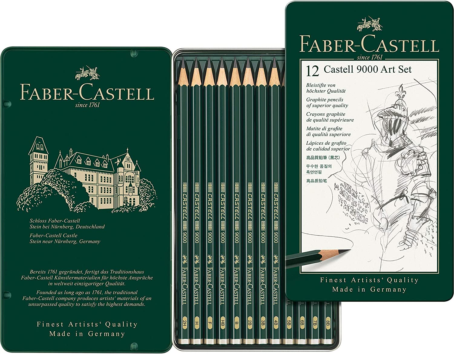 VARIOUS GRADES BOX OF 12 x FABER-CASTELL 9000 QUALITY BLACKLEAD PENCILS
