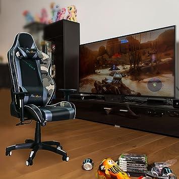 Taurus - Silla ergonómica para Juegos, Respaldo Ajustable, Respaldo de Piel sintética, tamaño Grande, reposacabezas, Respaldo Lumbar para Videojuegos: ...