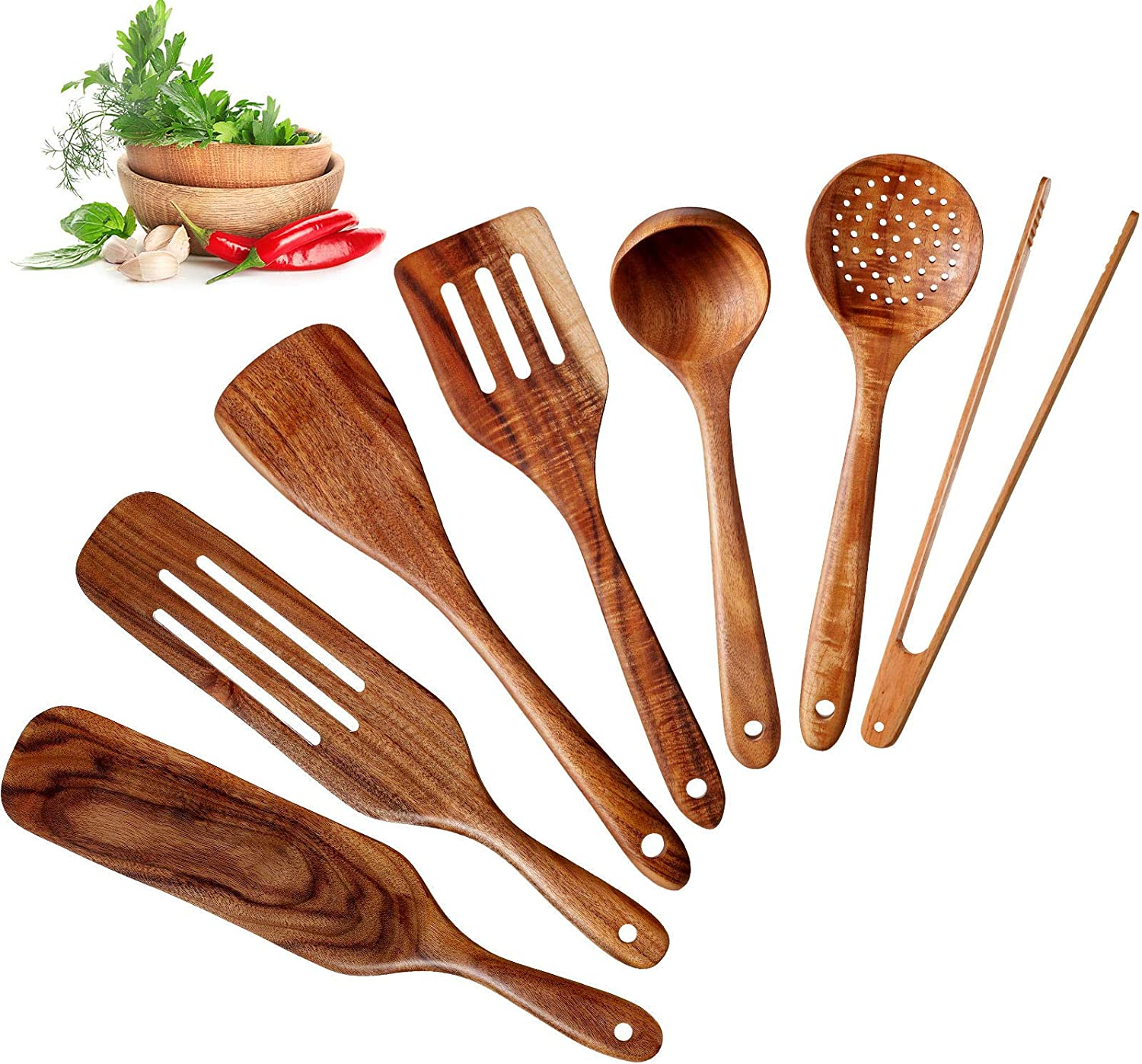 7 Pieces Spurtle Sets Wooden Spatulas Teak Kitchen utensils Set Heat Resistant Wood Skimmer Scoop Food Tong Non Stick Spurtles Slotted Spatula Ladle Colander with Hanging Holes for Cooking Kitchen