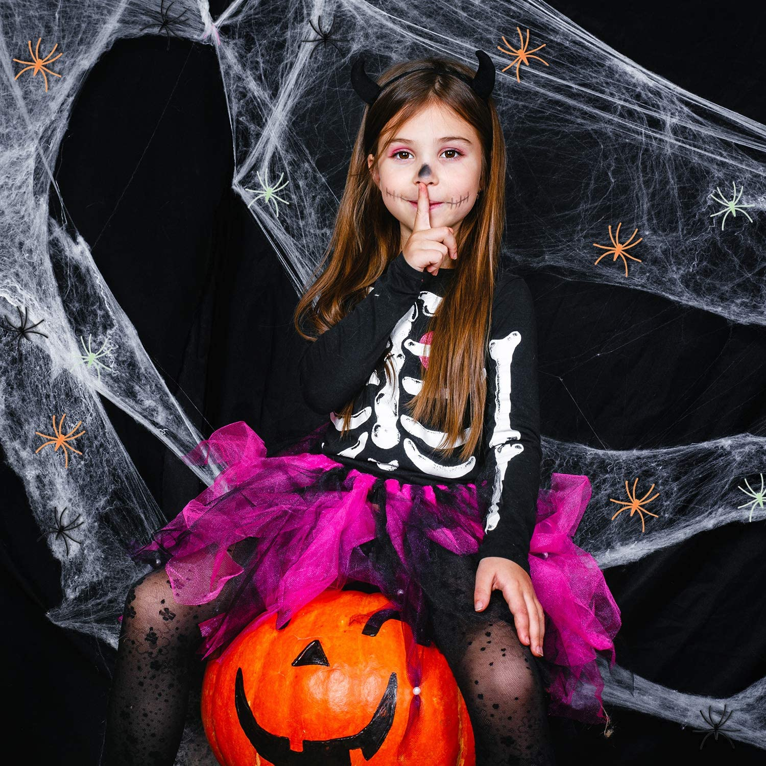 Halloween Spider Webs Fake Cobwebs with Plastic Spiders for Halloween Themed Party Decorations 2 Pieces Spider Webs + 150 Pieces Plastic Spiders