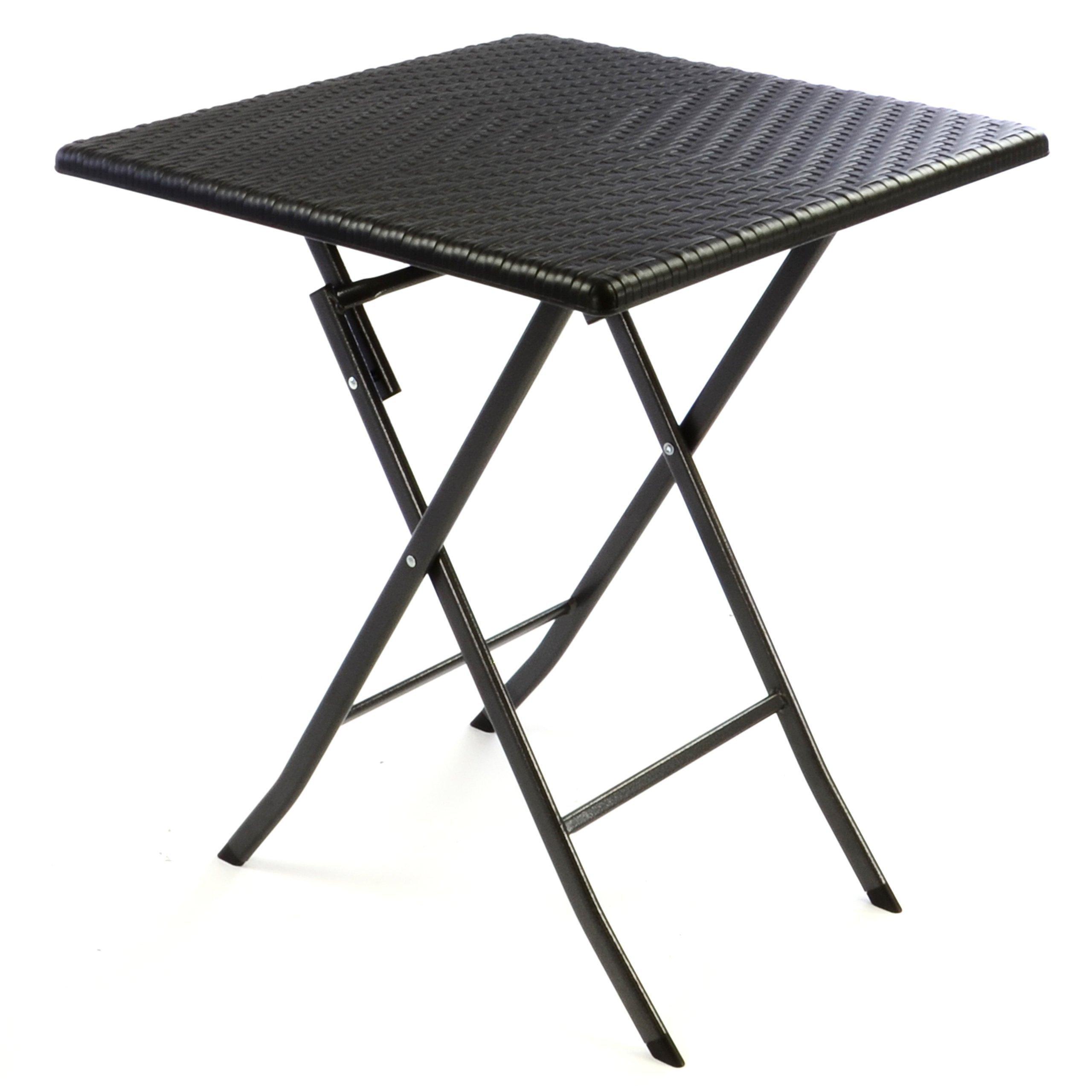 Nexos Tisch In Rattan Optik Balkontisch Gartentisch Klapptisch Schwarz 61 X  61 X 75 Cm Eckig Campingtisch Kunststoff Robust Stabil Wetterfest  Pflegeleicht ...