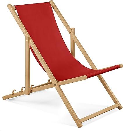 Chaise longue de jardin en bois Fauteuil Relax Chaise de plage rouge