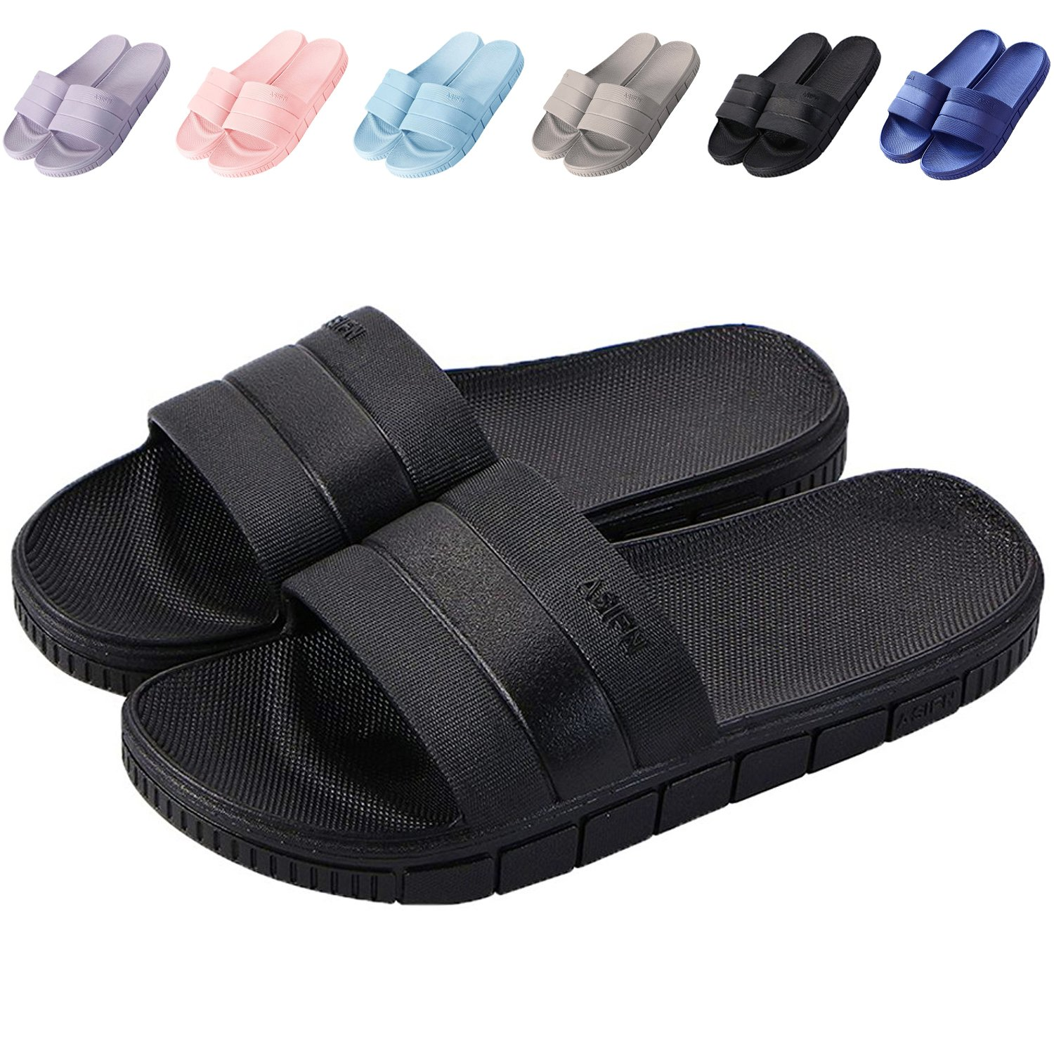 clootess Womens Men Home Shoes Shower Slipper Indoor Sandal Bath Slides Soft Non-Slip Quick Drying Bathroom Pool Gym Black 40.41