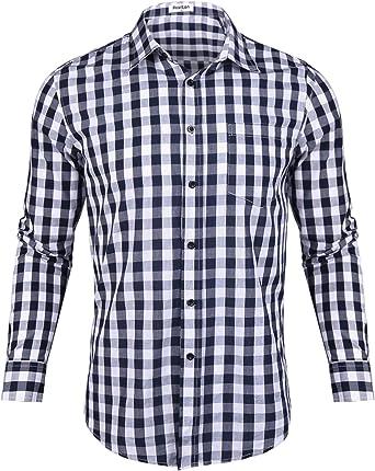 Aibrou Camisas Hombre Manga Larga Camisa Cuadros Hombre Camisa de Hombre de Algodón Casual Talla Grande Regular Fit: Amazon.es: Ropa y accesorios