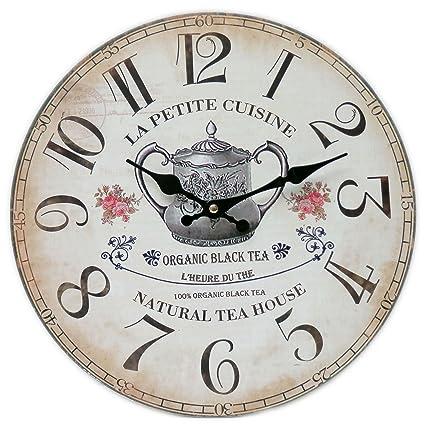 Kitchen Wall Clock La Petite Cuisine Organic Black Tea Natural
