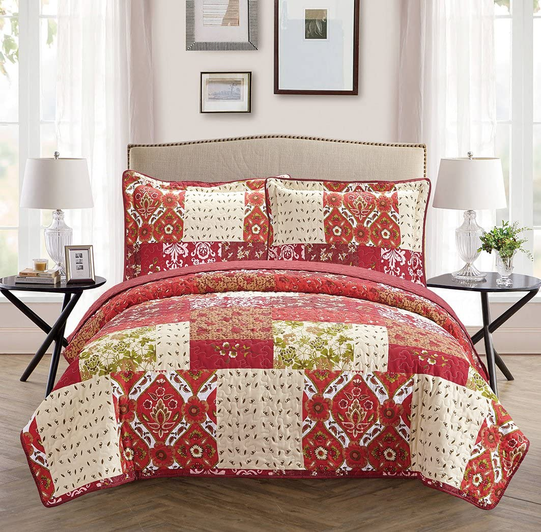 Mk Collection 3pc Full/Queen Oversize Reversible Quilted Bedspread Set Patchwork Floral Red Burgundy Green Beige Brown White New