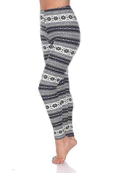 95d2c33e7c1a White Mark Premium Quality Women's Legging Printed for Holiday Christmas Reindeer  Snowflake (Missy, Black