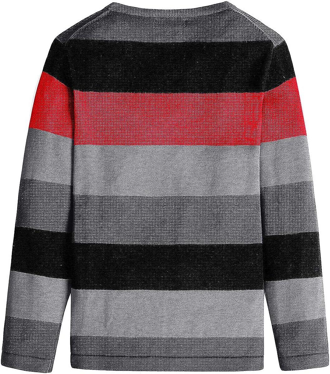 BASADINA Boys Long Sleeve Sweater Pullover 100/% Cotton Multicolor Stripe Sweaters