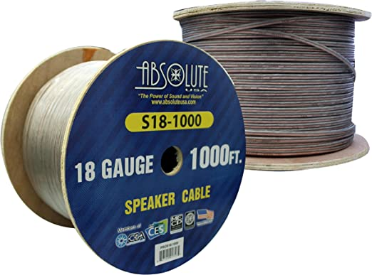 Absolute USA S181000 1000-Feet 18 Gauge Spool Speaker Wire