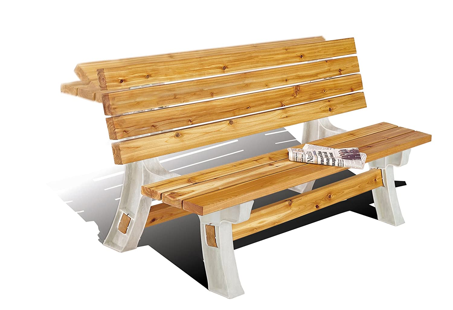 Wooden Table Bench - Flip Top Bench - any size - just add your CLS 2x4 Timber Hopkins Manufacturing 90110ONLMI