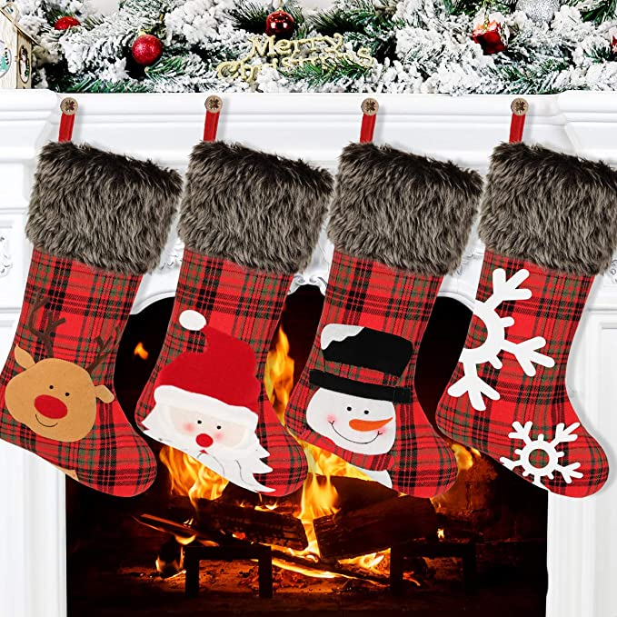 JUMBO EXTRA LARGE FELT CHRISTMAS STOCKING WITH PLAID CUFF /& SNOWFLAKES NEW