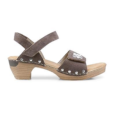 66855-25 Damen Sandalette aus Veloursleder Klettverschluss 40-mm-Absatz, Groesse 37, Grau Rieker