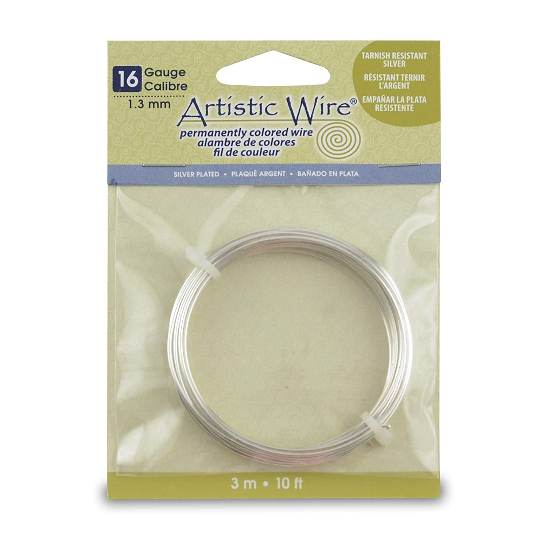Beadalon Artistic Wire-Non-Tarnish Silver 10 16 Gauge