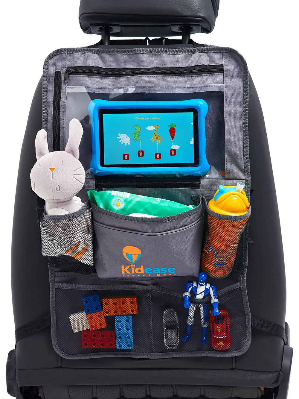 Car Back Seat Organiser and Kick Mat in Grey with Built In Touch Screen iPad or Tablet Holder By Kidease Travel Gear