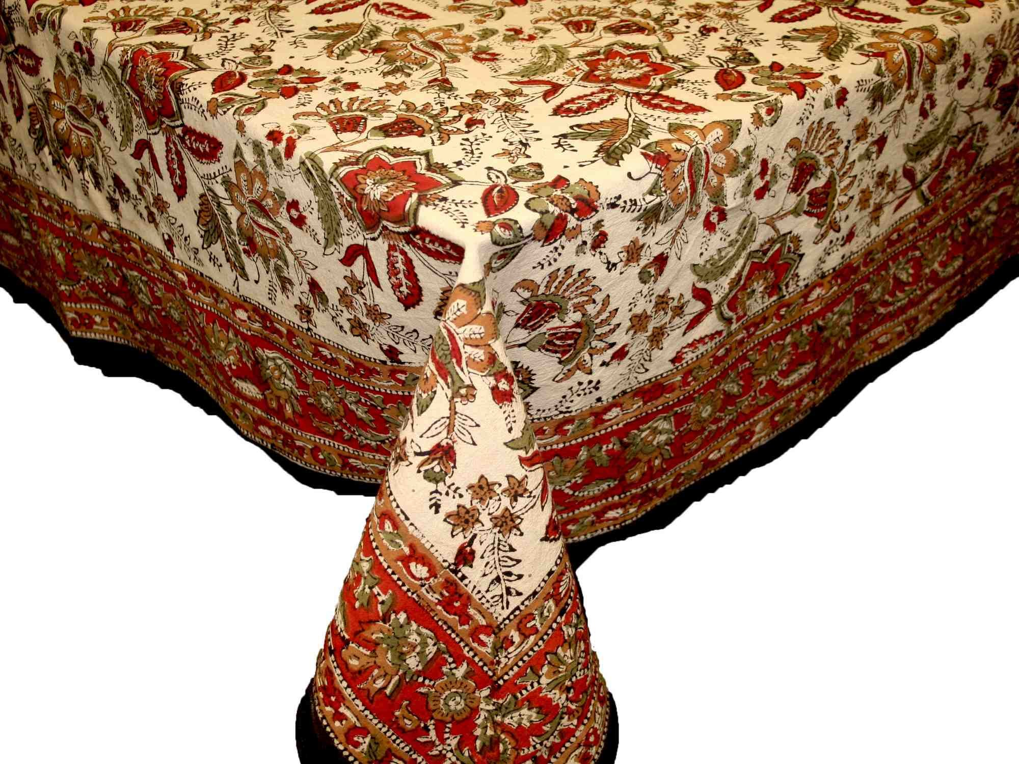 Handmade Jaipur floral Print 100% Cotton Tablecloth Earthern 60x90 Rectangular