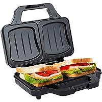 Ultratec Sandwichmaker XXL con 2 placas grandes para preparar todo tipo de sándwiches, apta incluso para rebanadas de pan de molde grandes, 900 W, color negro-plateado