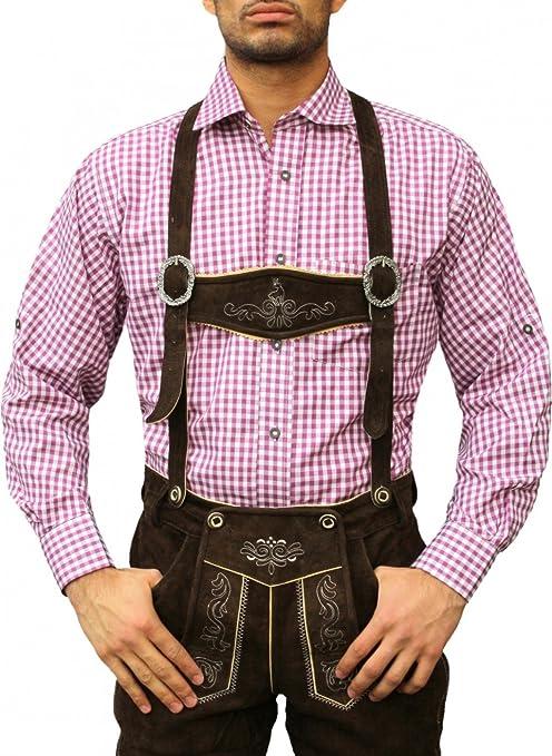 Cuadros de Baviera Tracht Camisa Camisa para lederhosen Tracht Mode Lila/Cuadrícula Morado morado: Amazon.es: Ropa y accesorios