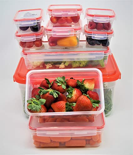 Click-n-Lock Airtight Food Storage Containers - Rectangular 20 Piece Set :  Inspired Living by Mesa