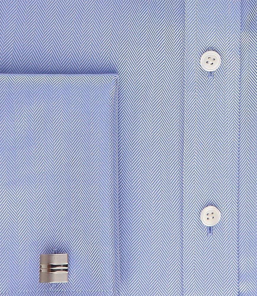HAWES /& CURTIS Mens Blue Herringbone Classic Fit Shirt Easy Iron French Cuff