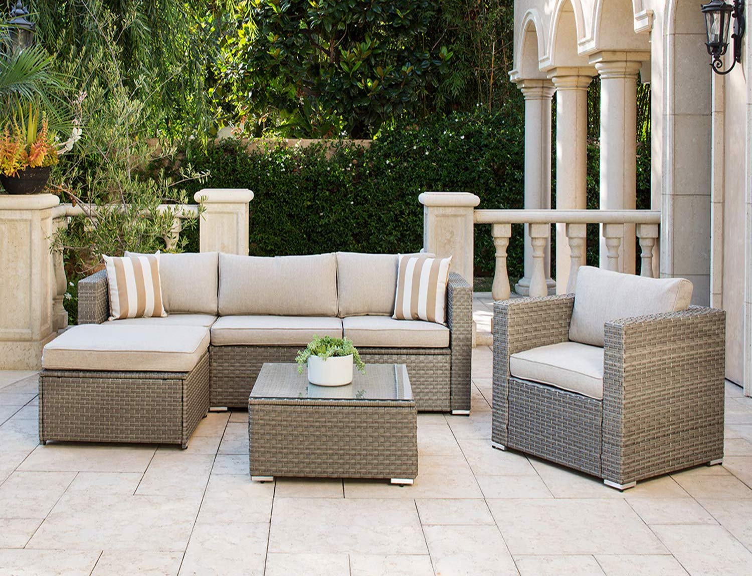 Amazon Com Solaura Outdoor Furniture Set 6 Piece Wicker Furniture