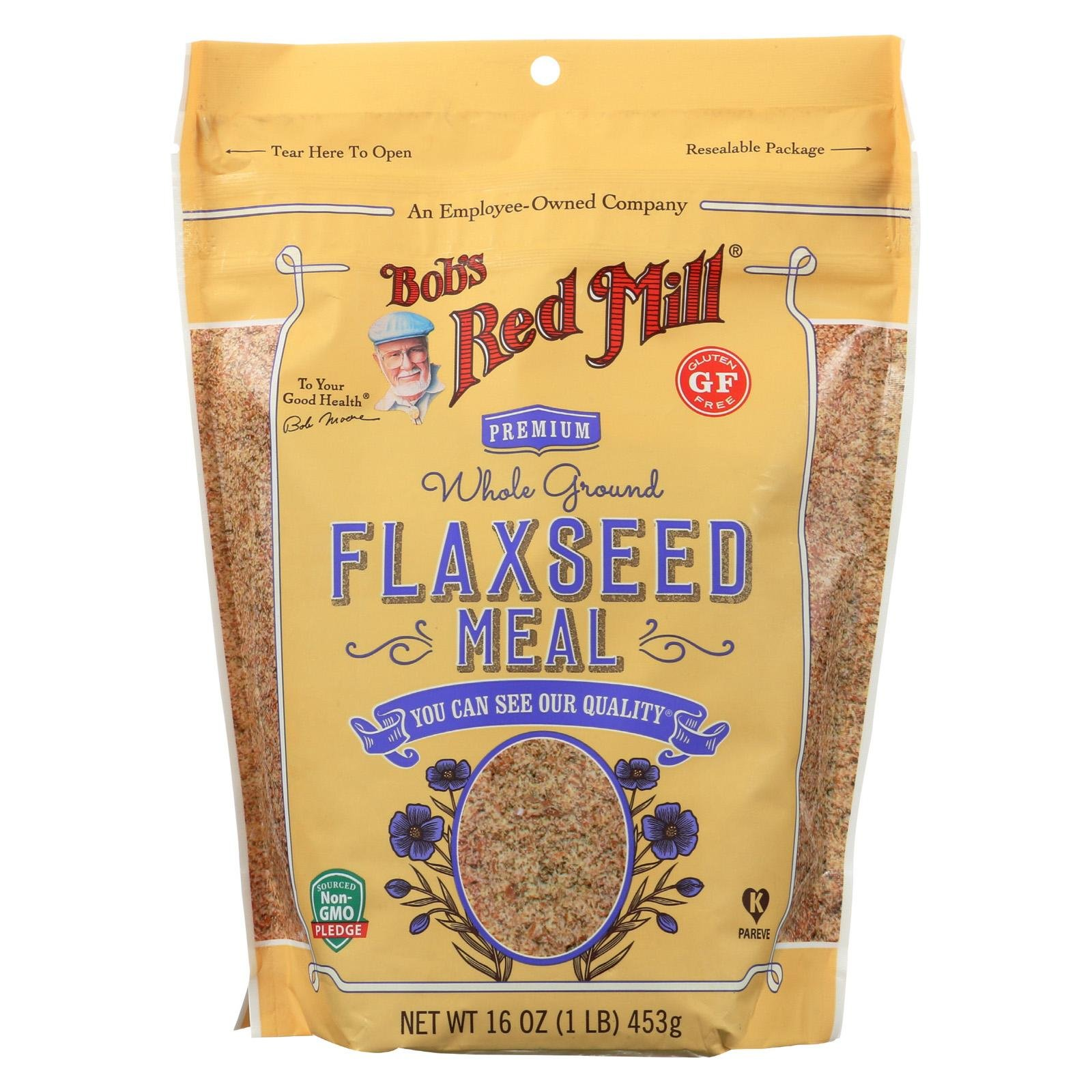 BOB'S RED MILL, Flaxseed Meal, Gluten Free, Pack of 4, Size 16 OZ, (Gluten Free Kosher)