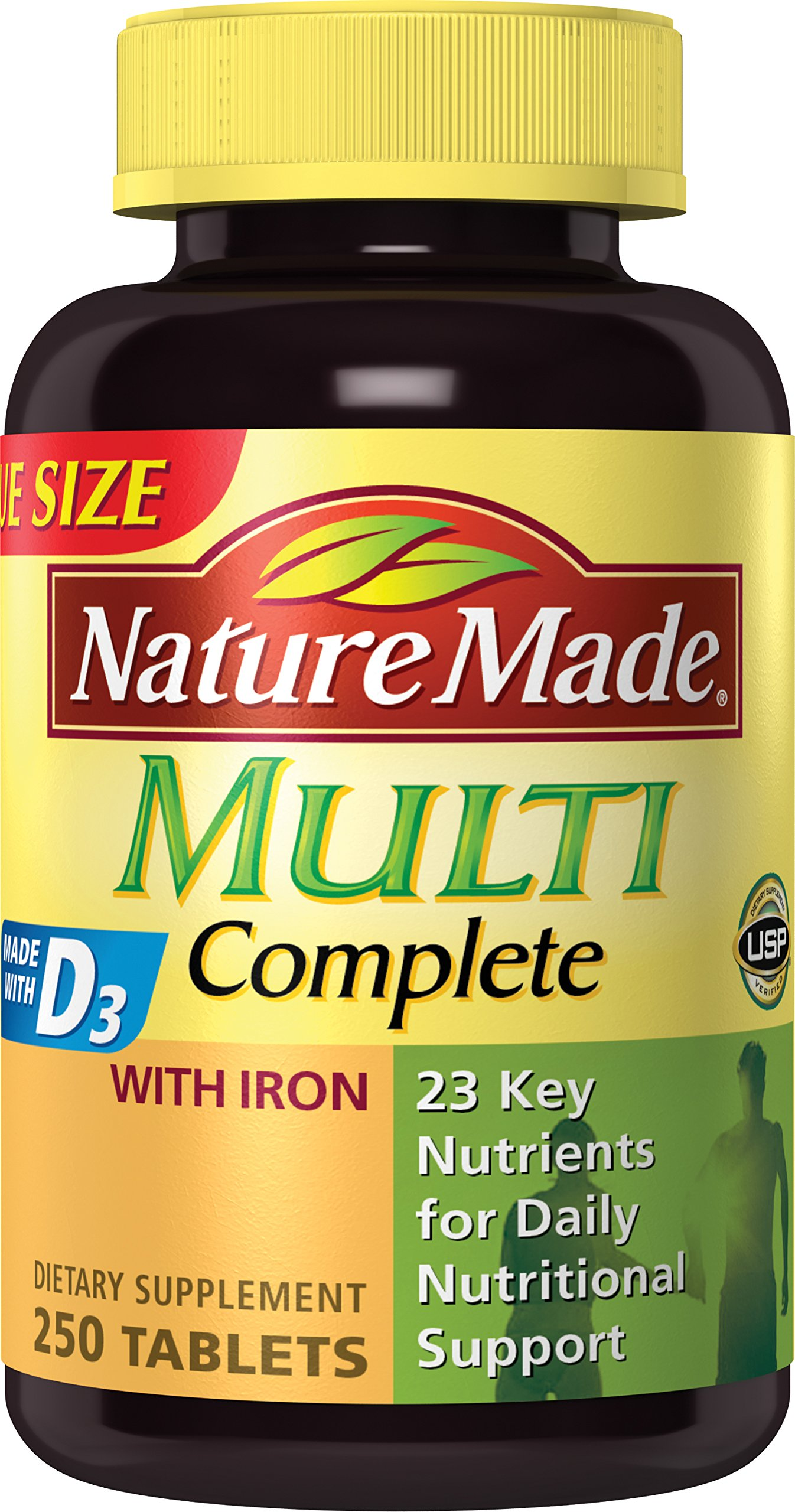 Nature Made Multi Complete Tablets w. Iron Value Size (Pack of 3)