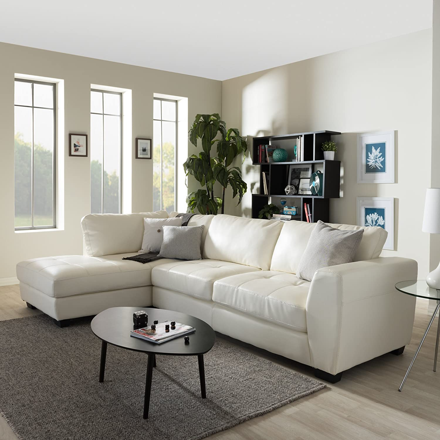 white leather living room set. Amazon com  Baxton Studio Orland Leather Modern Sectional Sofa Set with Left Facing Chaise White Kitchen Dining