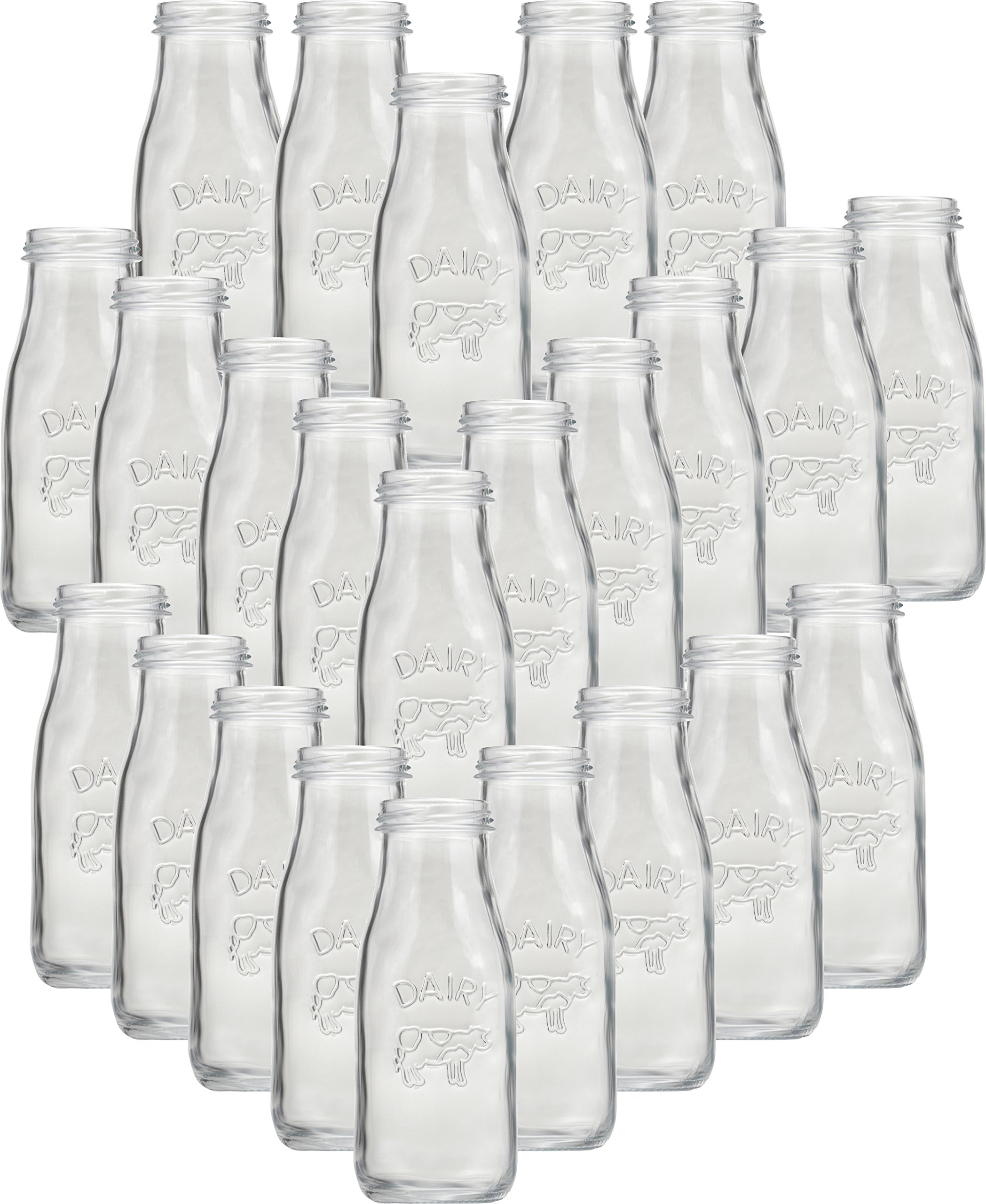 Circleware 06741 Huge Set of 24 Dairy Cow Milk Water Bottles Carafe, Kitchen Entertainment Drinking Glasses Glassware for Juice, Beer and Bar Liquor Dining Decor Beverage Gifts, 10 oz, Clear by Circleware (Image #1)