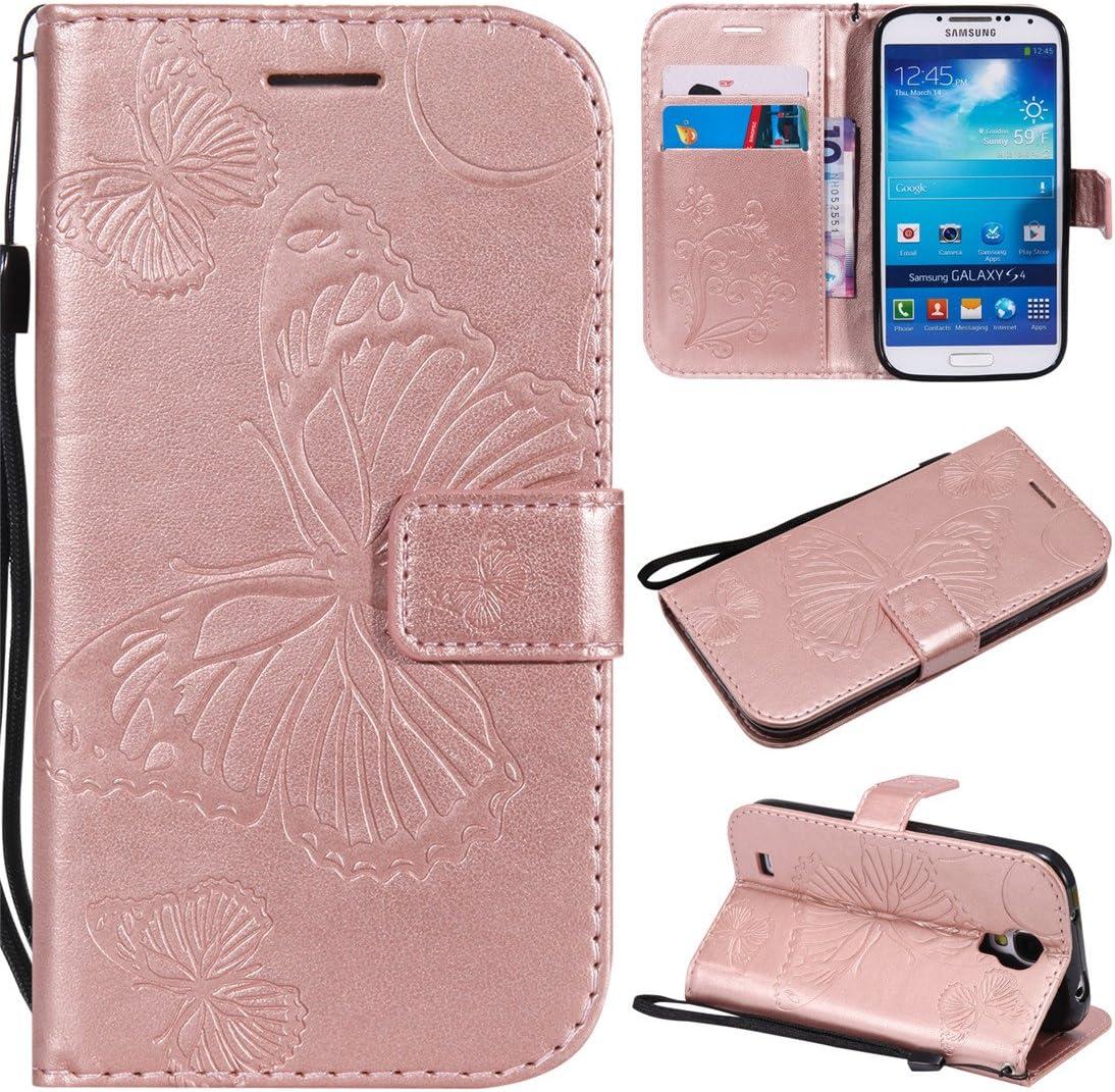 Funda para Samsung Galaxy S4, diseño de Flores de Mariposa, Piel sintética, función Atril, con Ranuras para Tarjetas para Samsung Galaxy S4 i9500: Amazon.es: Electrónica